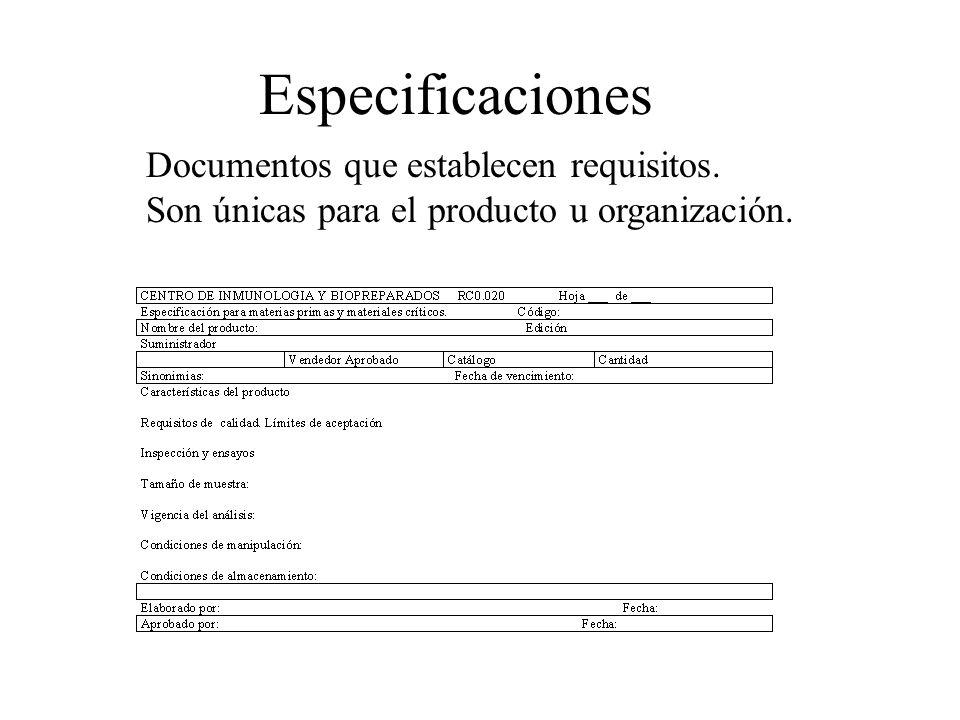 Especificaciones Documentos que establecen requisitos. Son únicas para el producto u organización.