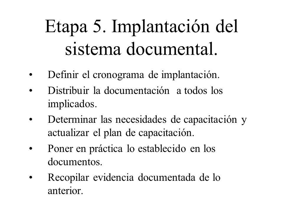 Etapa 5. Implantación del sistema documental. Definir el cronograma de implantación. Distribuir la documentación a todos los implicados. Determinar la