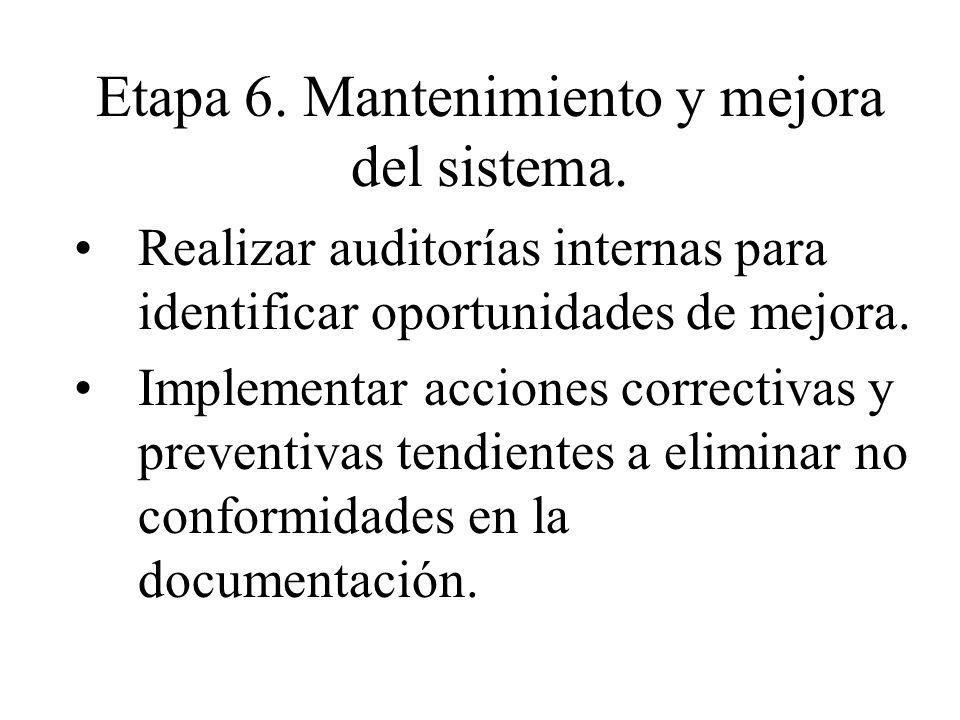 Etapa 6. Mantenimiento y mejora del sistema. Realizar auditorías internas para identificar oportunidades de mejora. Implementar acciones correctivas y