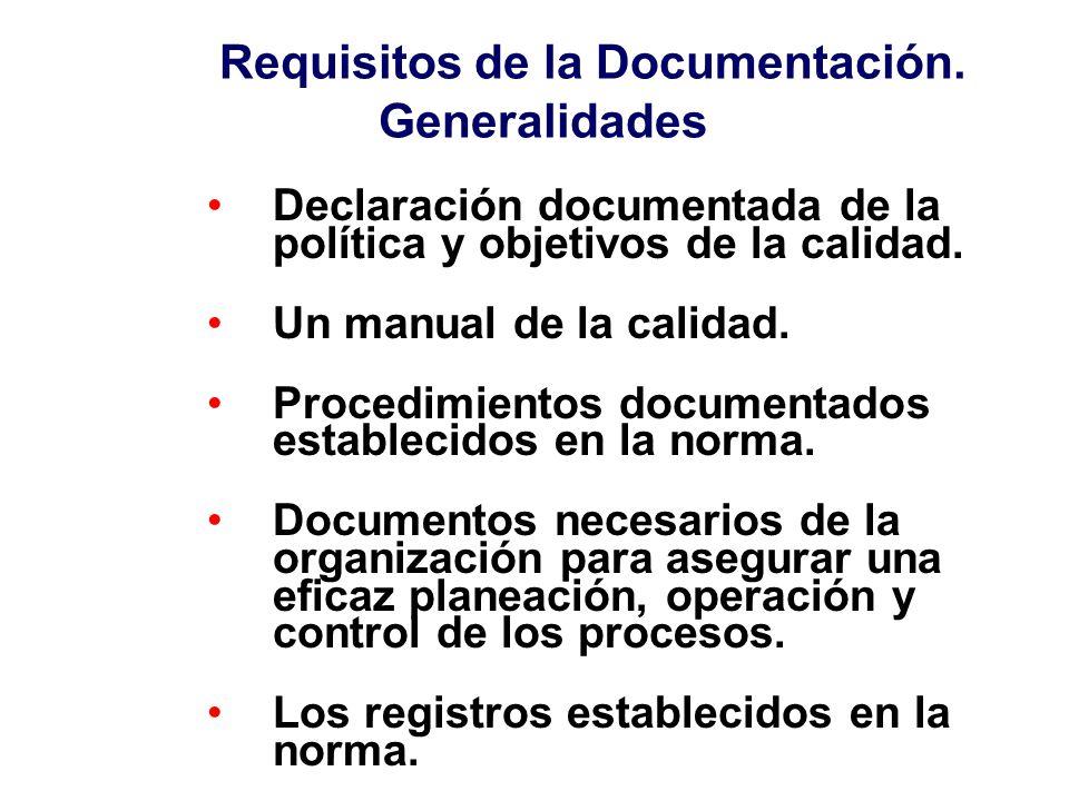 Manual de Calidad Procedimientos del sistema de la calidad Documentos de trabajo (instrucciones, registros, especificaciones, formatos,...) Contenido de los documentos Describe el sistema de la calidad en concordancia con la política y objetivos establecidos.