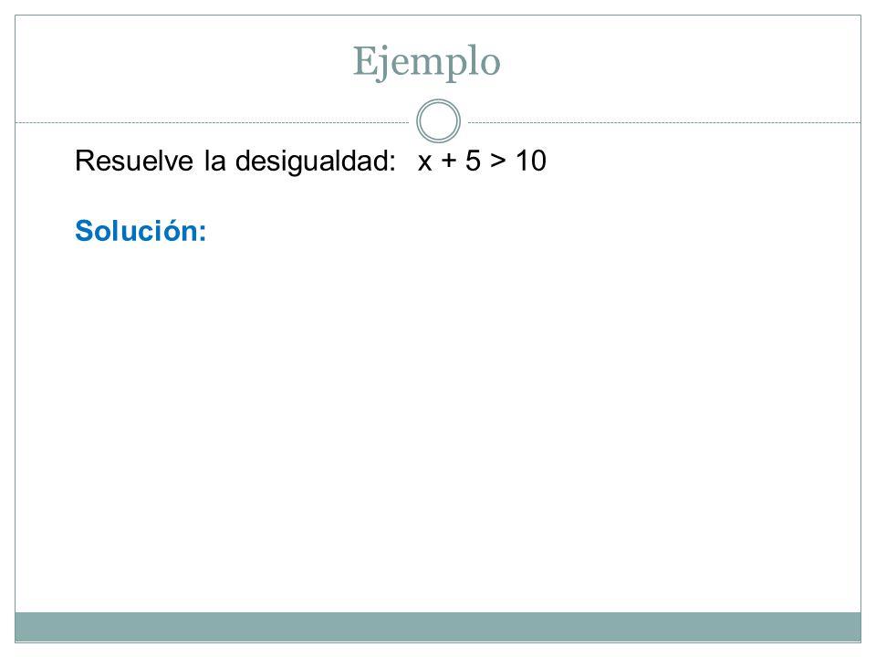 Resuelva la desigualdad: 3 – x > 4 Solución: 3 – x > 4 Ejemplo