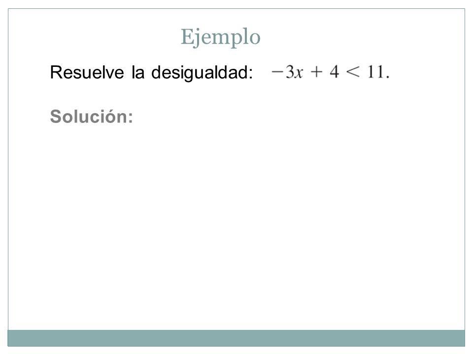 Ejemplo Resuelve la desigualdad: Solución: 4 + 7x ≥ 2x – 1