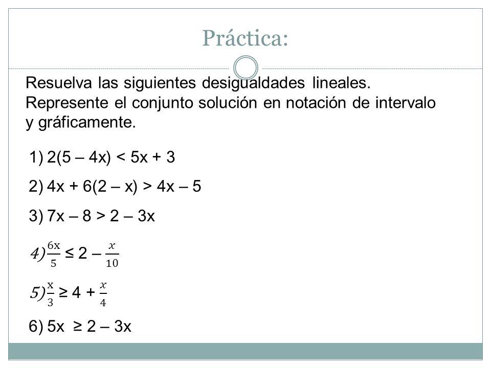 Desigualdades compuestas En ocasiones tenemos desigualdades compuestas como la siguiente: 2 < x + 1 < 5 Con esta notación se representan dos desigualdades: x + 1 > 2 y x + 1 < 5 Algunas veces, podemos despejar la desigualdad de manera que la variable esté sola, en el medio.