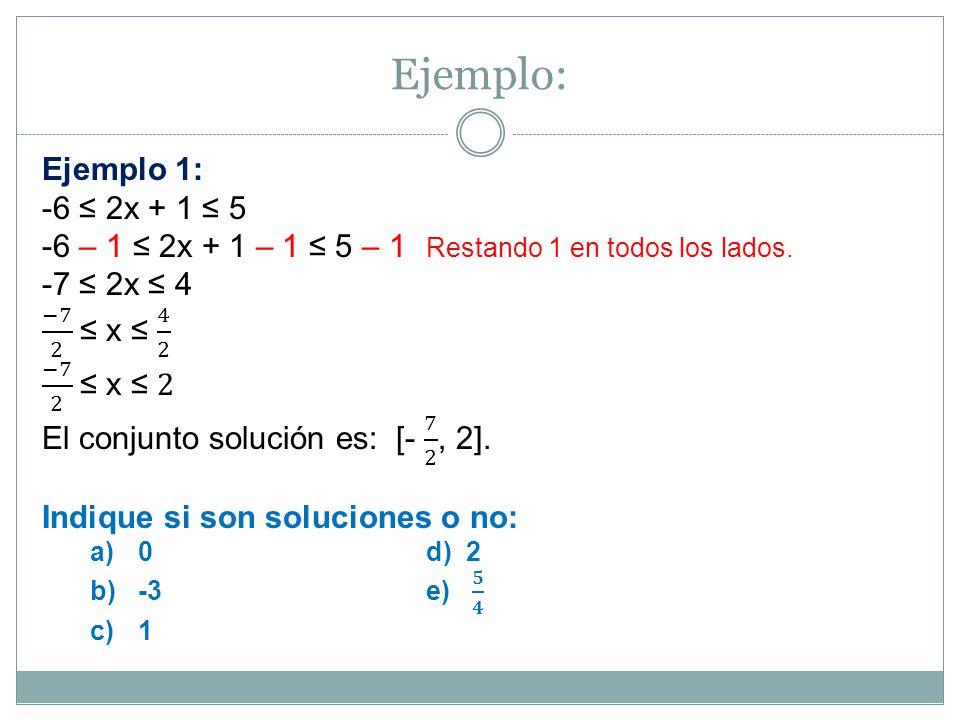 Hallar el conjunto solución de 2x < 3 < 5 + 2x Solución: