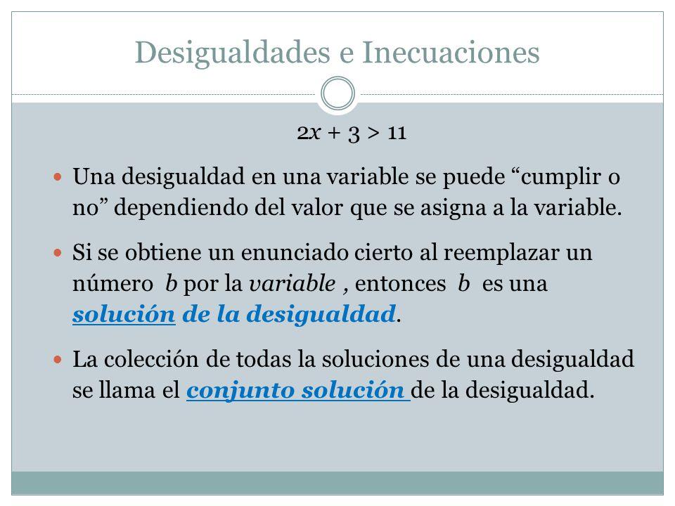Soluciones de Desigualdades Dado 2x + 3 > 11  x = 5 es una solución de 2x + 3 > 11  2(5) + 3 =13  13 > 11 es cierto  x = 3 NO es una solución  2(3) + 3 = 9  9 > 11 es falso.