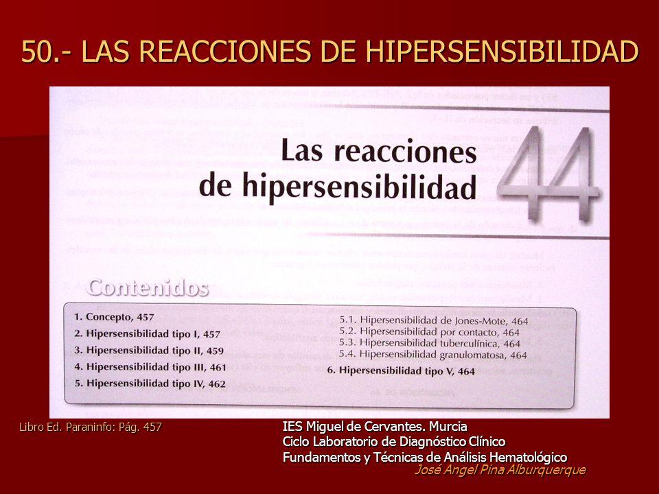 50.- LAS REACCIONES DE HIPERSENSIBILIDAD Libro Ed.