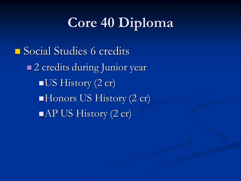 Core 40 Diploma Social Studies 6 credits Social Studies 6 credits 2 credits during Junior year 2 credits during Junior year US History (2 cr) US History (2 cr) Honors US History (2 cr) Honors US History (2 cr) AP US History (2 cr) AP US History (2 cr)