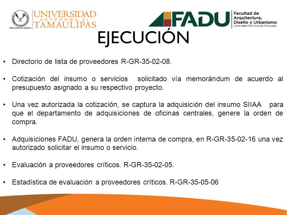 EJECUCIÓN Directorio de lista de proveedores R-GR-35-02-08.