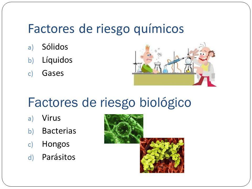 Factores de riesgo químicos a) Sólidos b) Líquidos c) Gases Factores de riesgo biológico a) Virus b) Bacterias c) Hongos d) Parásitos