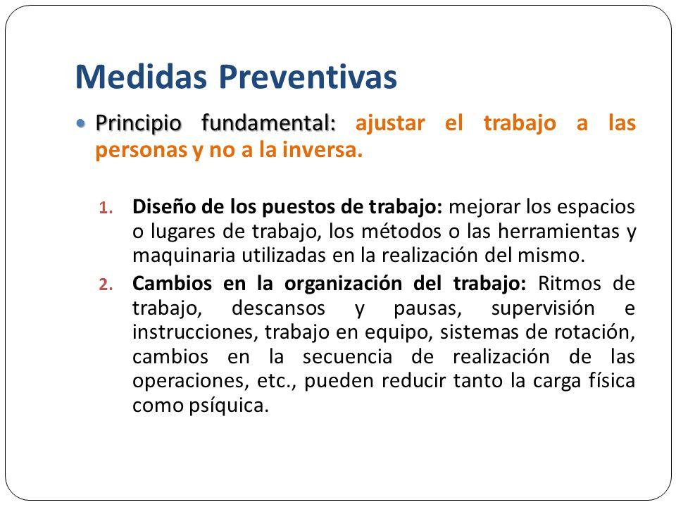 Medidas Preventivas Principio fundamental: Principio fundamental: ajustar el trabajo a las personas y no a la inversa.