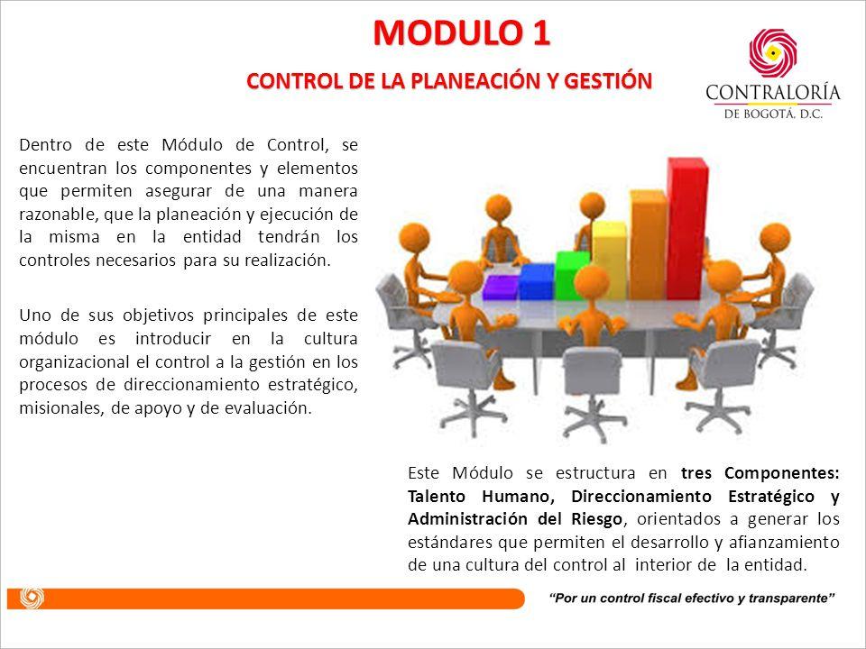 Este módulo busca agrupar los parámetros de control que orientan la entidad hacia el cumplimiento de su visión, misión, objetivos, principios, metas y