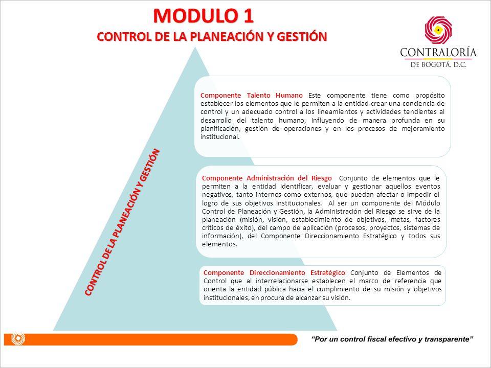 Dentro de este Módulo de Control, se encuentran los componentes y elementos que permiten asegurar de una manera razonable, que la planeación y ejecución de la misma en la entidad tendrán los controles necesarios para su realización.