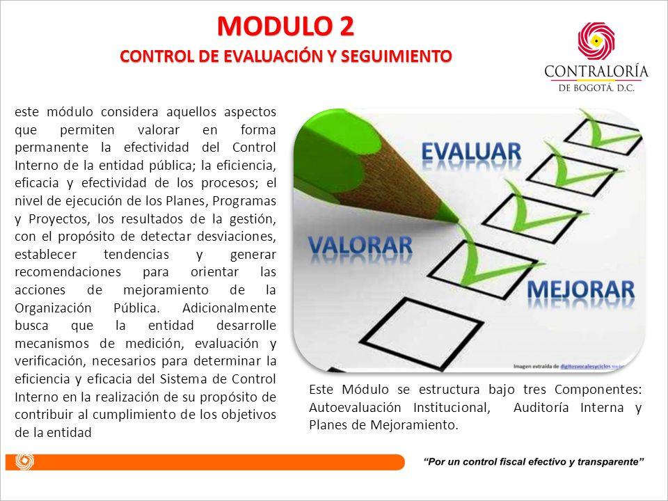 Agrupa los parámetros que garantizan la valoración permanente de los resultados de la entidad, a través de sus diferentes mecanismos de verificación, evaluación y seguimiento.