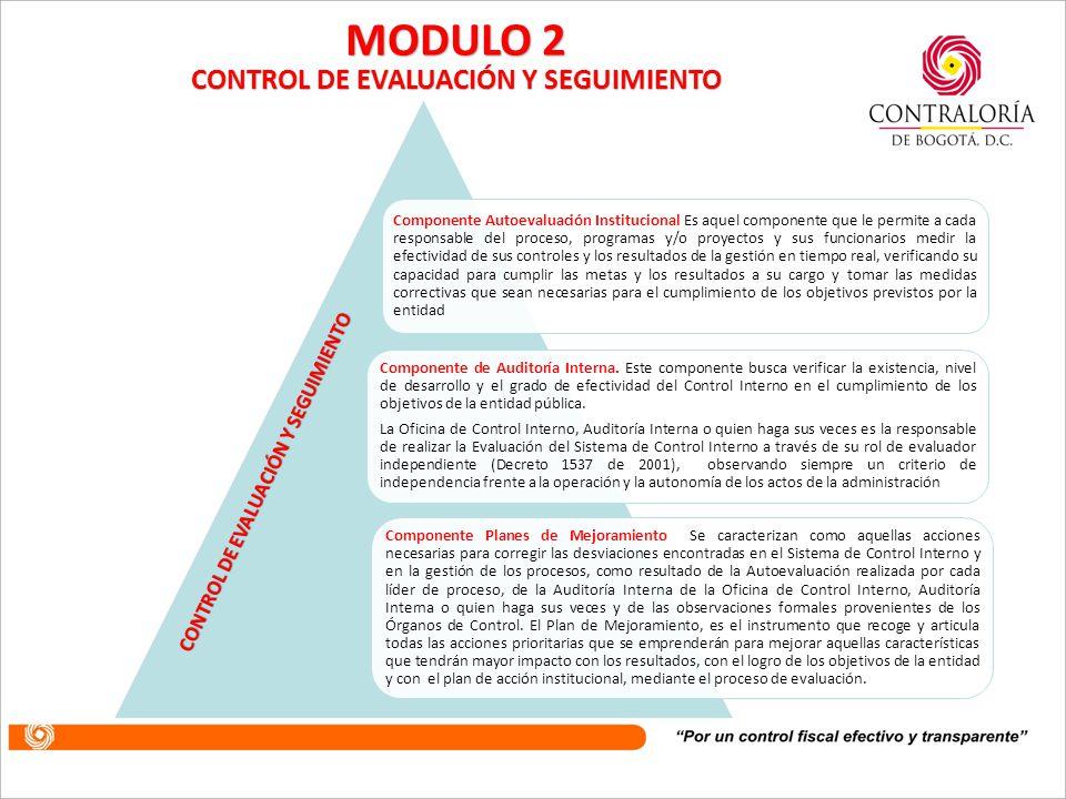 este módulo considera aquellos aspectos que permiten valorar en forma permanente la efectividad del Control Interno de la entidad pública; la eficienc