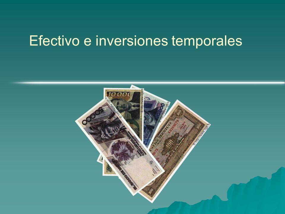 NIC Num 7 Estados de Flujo de Efectivo.: El efectivo esta constituido por la caja, los depositos bancarios a la vista y los equivalentes al efectivo.