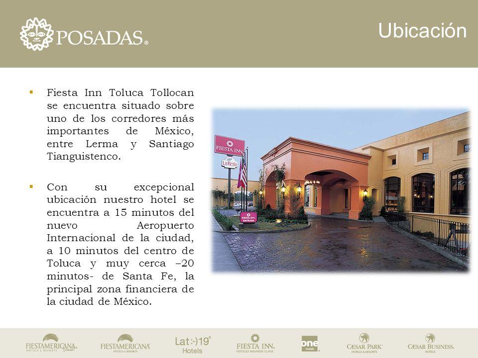 Ubicación  Fiesta Inn Toluca Tollocan se encuentra situado sobre uno de los corredores más importantes de México, entre Lerma y Santiago Tianguistenc