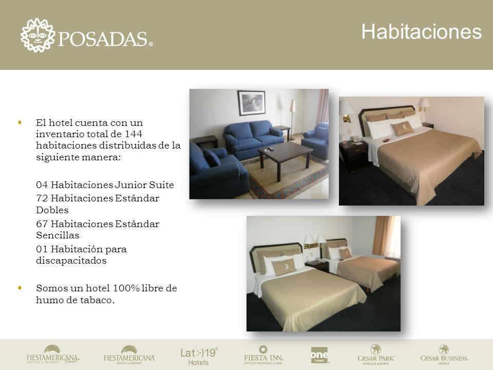 Habitaciones  El hotel cuenta con un inventario total de 144 habitaciones distribuidas de la siguiente manera: 04 Habitaciones Junior Suite 72 Habita