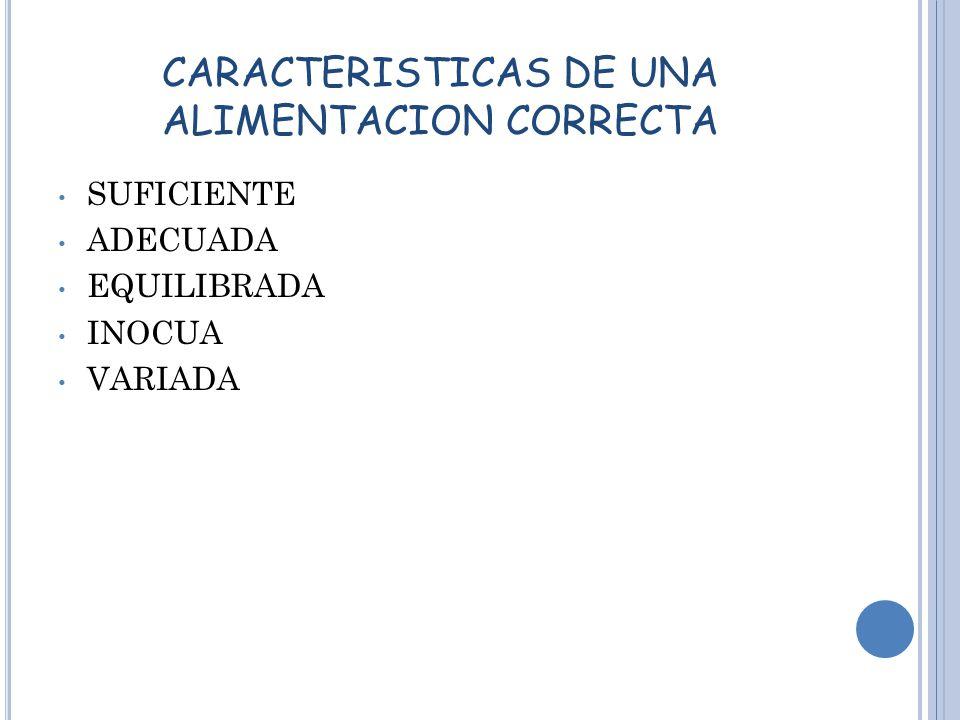 CARACTERISTICAS DE UNA ALIMENTACION CORRECTA SUFICIENTE ADECUADA EQUILIBRADA INOCUA VARIADA