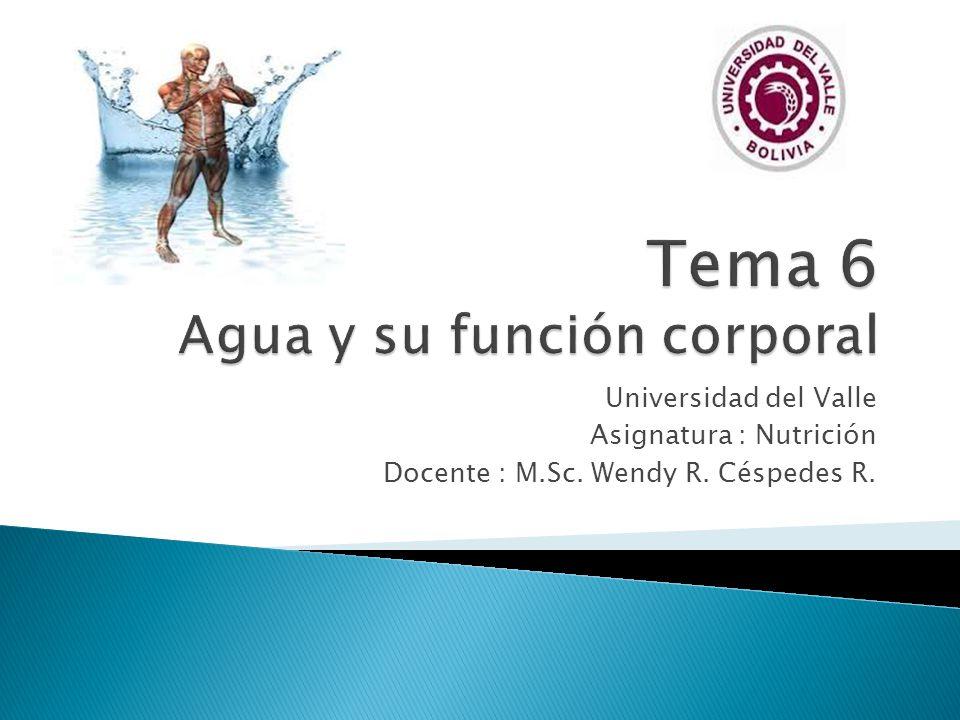 Universidad del Valle Asignatura : Nutrición Docente : M.Sc. Wendy R. Céspedes R.