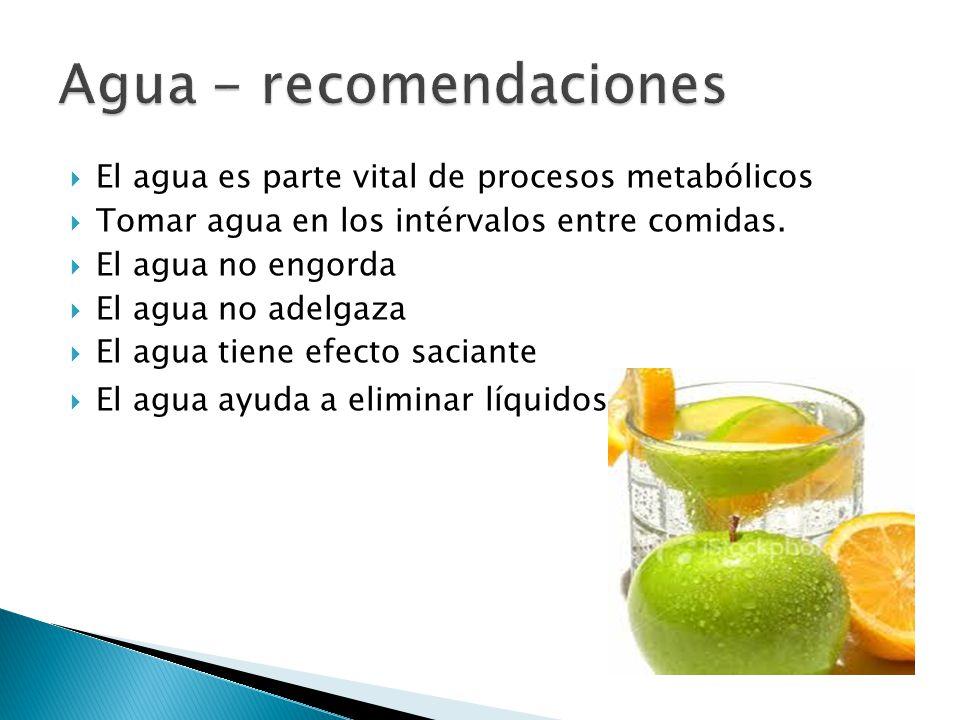  El agua es parte vital de procesos metabólicos  Tomar agua en los intérvalos entre comidas.