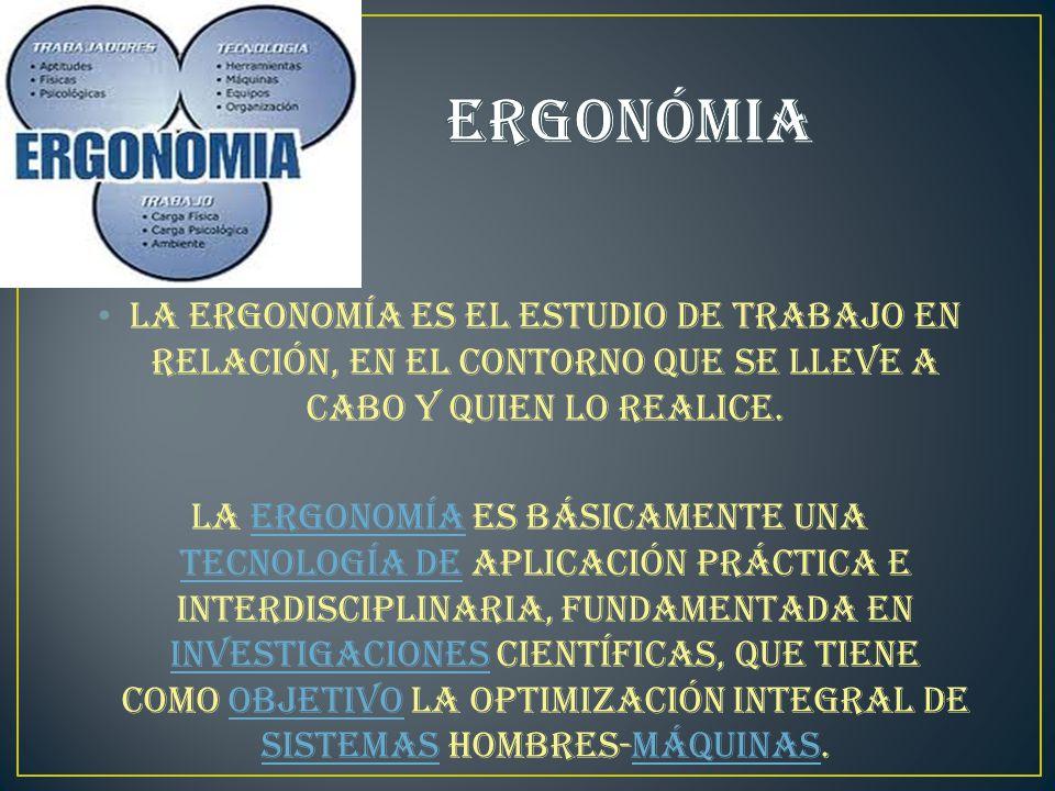La ergonomía es el estudio de trabajo en relación, en el contorno que se lleve a cabo y quien lo realice.