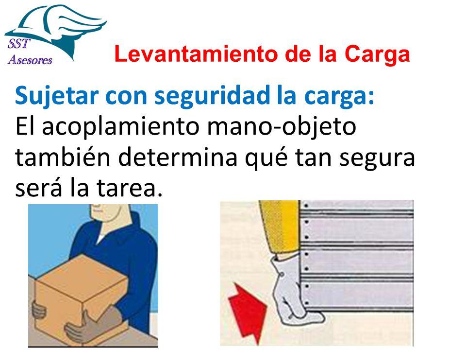 Levantamiento de la Carga Sujetar con seguridad la carga: El acoplamiento mano-objeto también determina qué tan segura será la tarea.