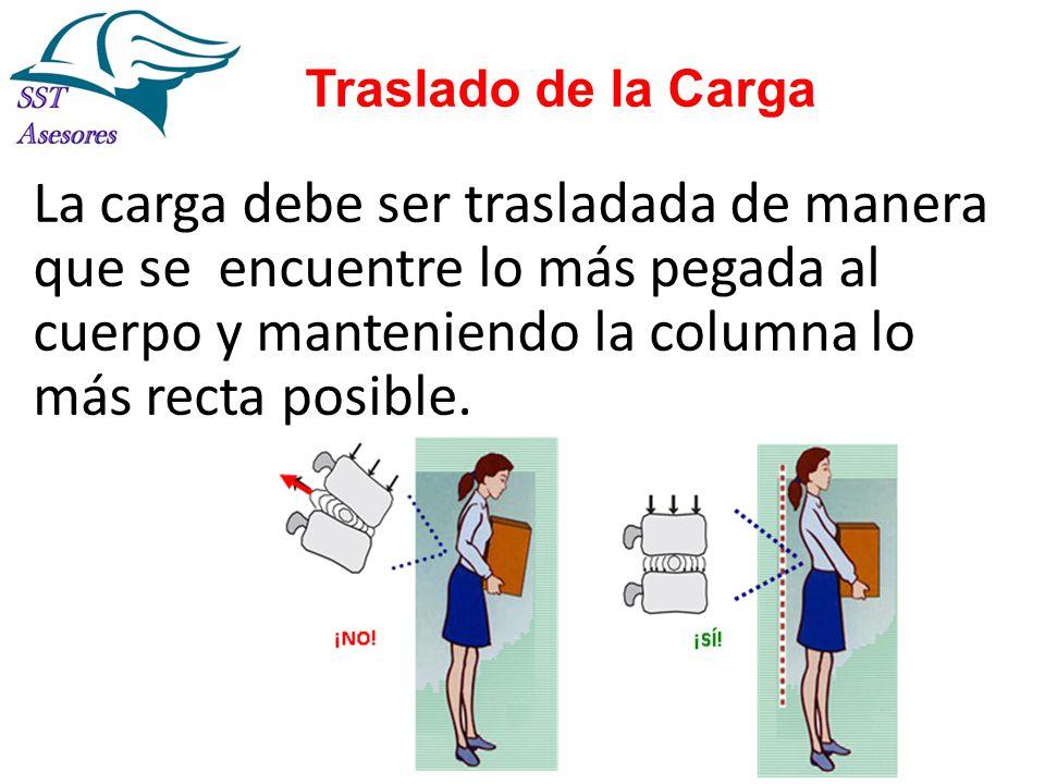 Traslado de la Carga La carga debe ser trasladada de manera que se encuentre lo más pegada al cuerpo y manteniendo la columna lo más recta posible.