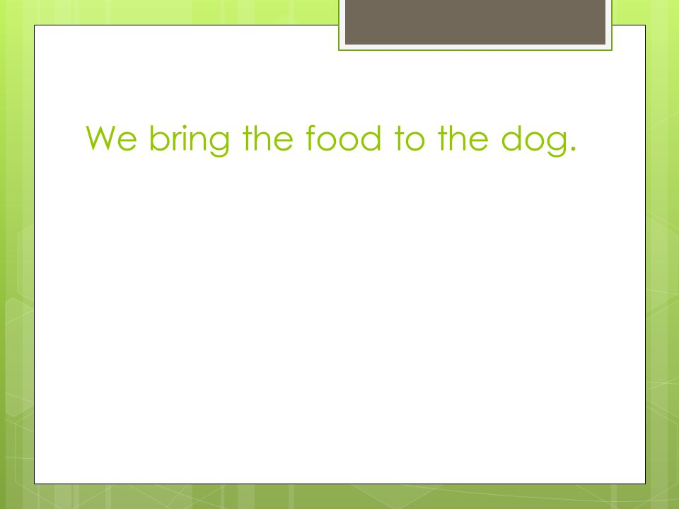 We bring the food to the dog.