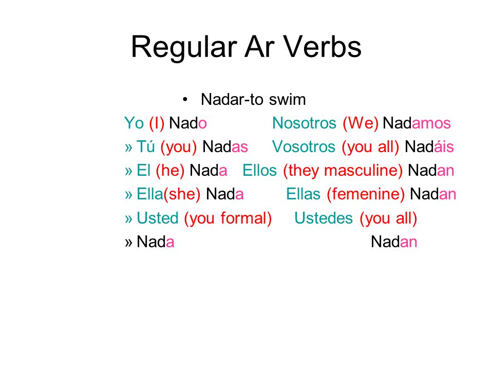Regular Ar Verbs Nadar-to swim Yo (I) NadoNosotros (We) Nadamos »Tú (you) NadasVosotros (you all) Nadáis »El (he) Nada Ellos (they masculine) Nadan »Ella(she) Nada Ellas (femenine) Nadan »Usted (you formal) Ustedes (you all) »NadaNadan
