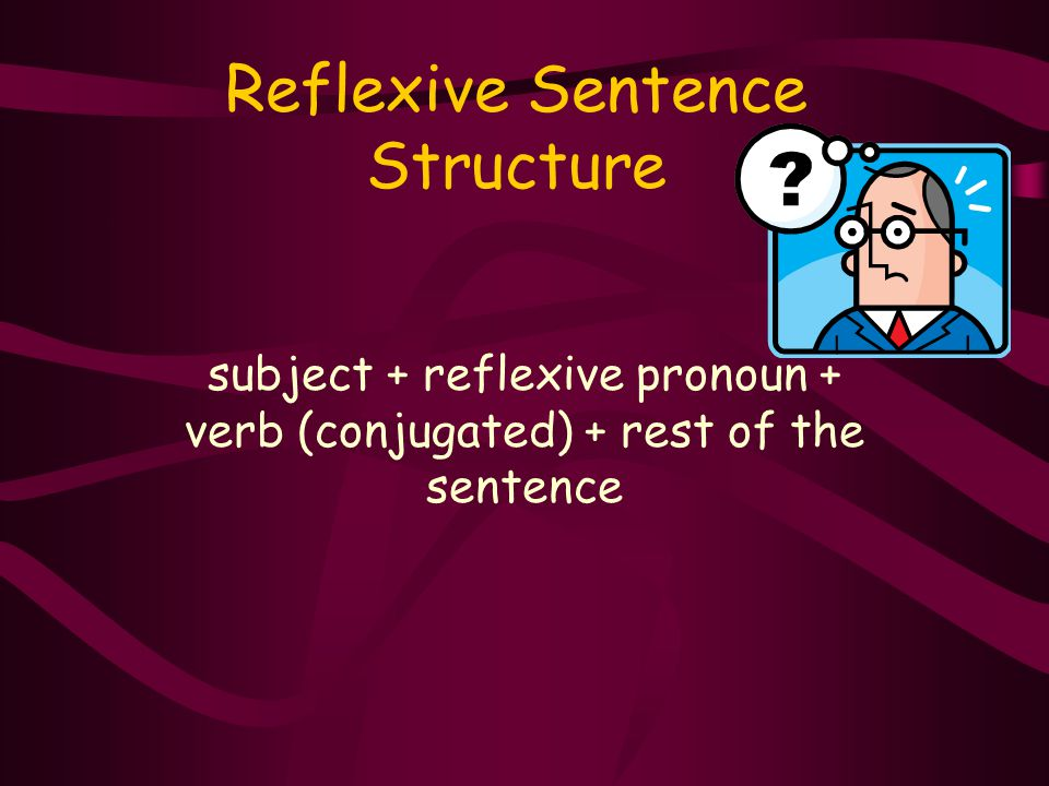 Reflexive Sentence Structure subject + reflexive pronoun + verb (conjugated) + rest of the sentence
