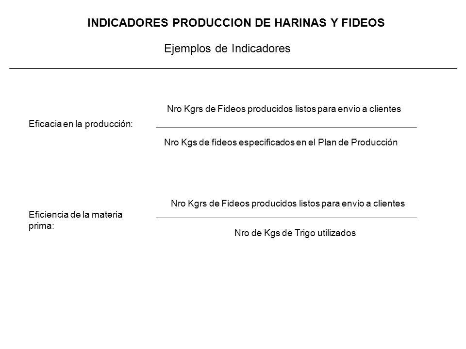 INDICADORES PRODUCCION DE HARINAS Y FIDEOS Nro Kgrs de Fideos producidos listos para envio a clientes Nro Kgs de fideos especificados en el Plan de Producción Eficacia en la producción: Nro de Kgs de Trigo utilizados Eficiencia de la materia prima: Ejemplos de Indicadores Nro Kgrs de Fideos producidos listos para envio a clientes