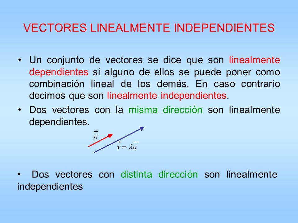 VECTORES LINEALMENTE INDEPENDIENTES Un conjunto de vectores se dice que son linealmente dependientes si alguno de ellos se puede poner como combinació