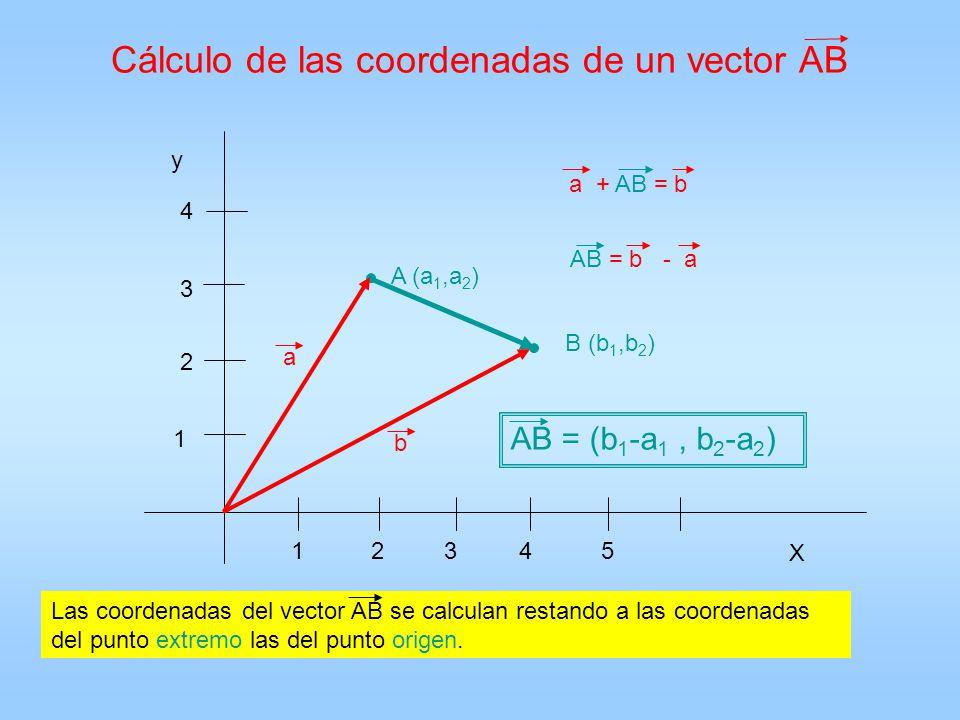 Cálculo de las coordenadas de un vector AB X y 12435 1 2 3 4 A (a 1,a 2 ) B (b 1,b 2 ) a b a + AB = b AB = (b 1 -a 1, b 2 -a 2 ) AB = b - a Las coorde