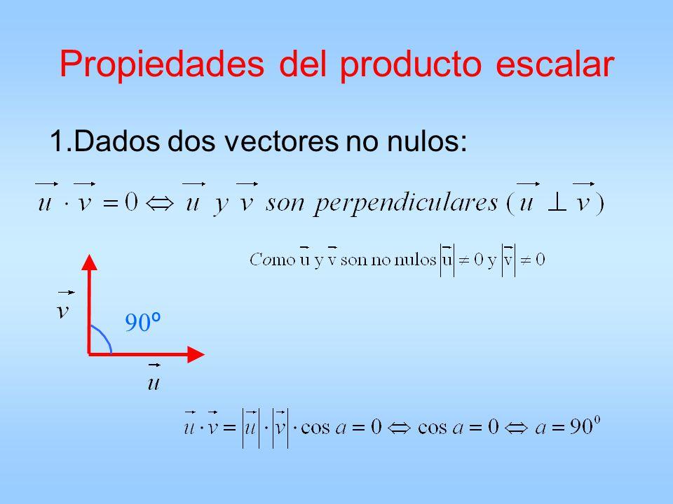 Propiedades del producto escalar 1.Dados dos vectores no nulos:  º