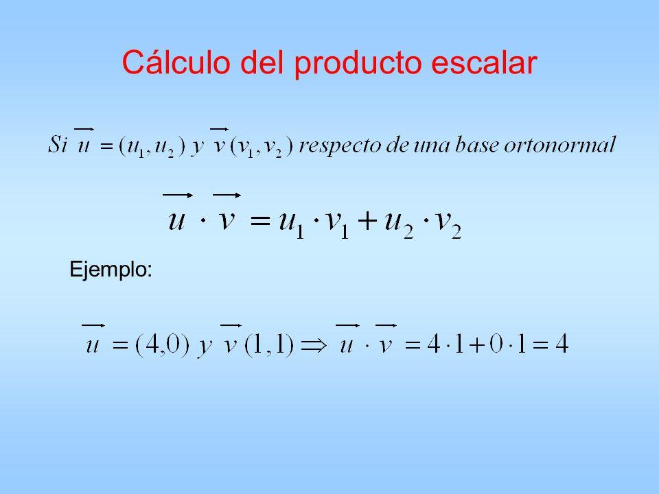 Cálculo del producto escalar Ejemplo: