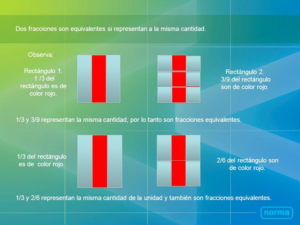 Dos fracciones son equivalentes si representan a la misma cantidad. Observa: Rectángulo 1. 1 /3 del rectángulo es de color rojo. Rectángulo 2. 3/9 del