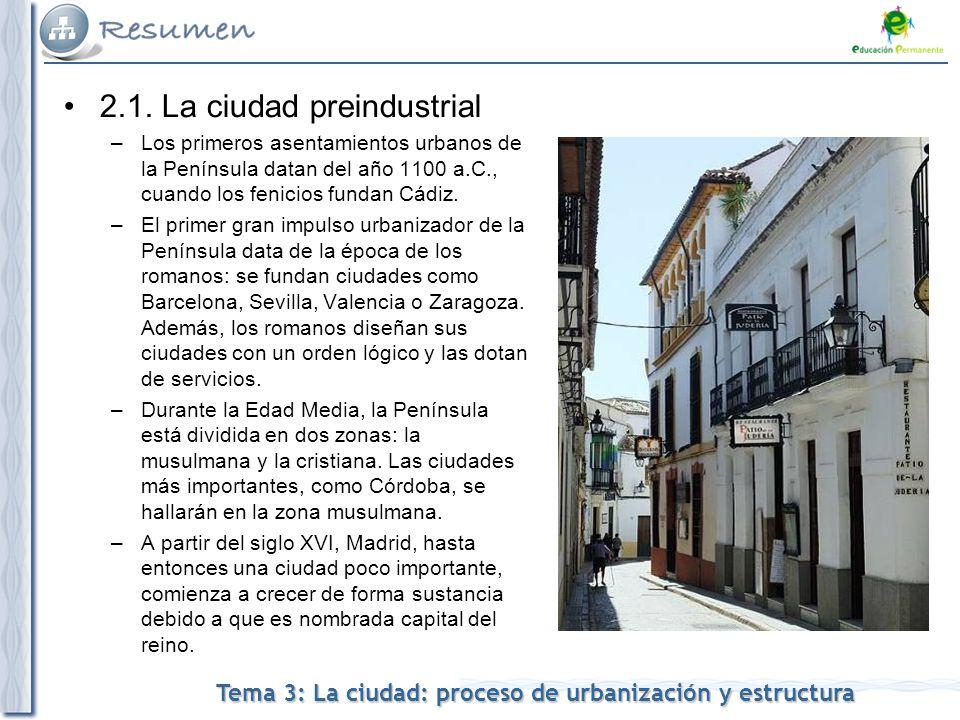 Tema 3: La ciudad: proceso de urbanización y estructura 2.1.