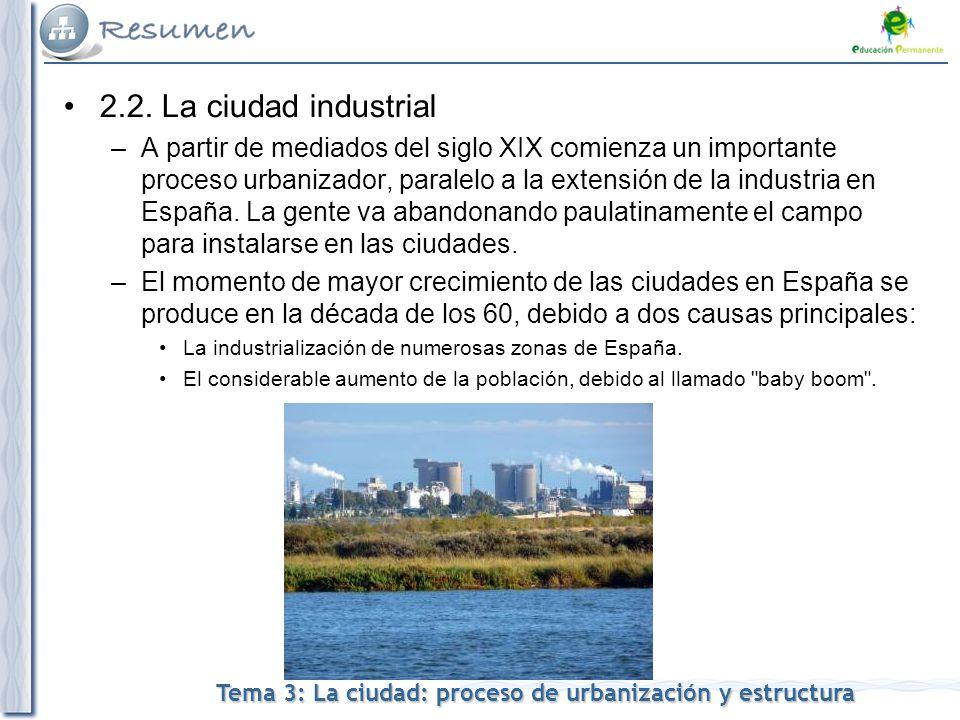 Tema 3: La ciudad: proceso de urbanización y estructura 2.2.