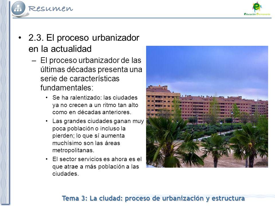 Tema 3: La ciudad: proceso de urbanización y estructura 2.3.