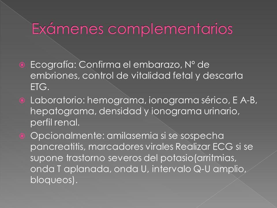  Ecografía: Confirma el embarazo, Nº de embriones, control de vitalidad fetal y descarta ETG.