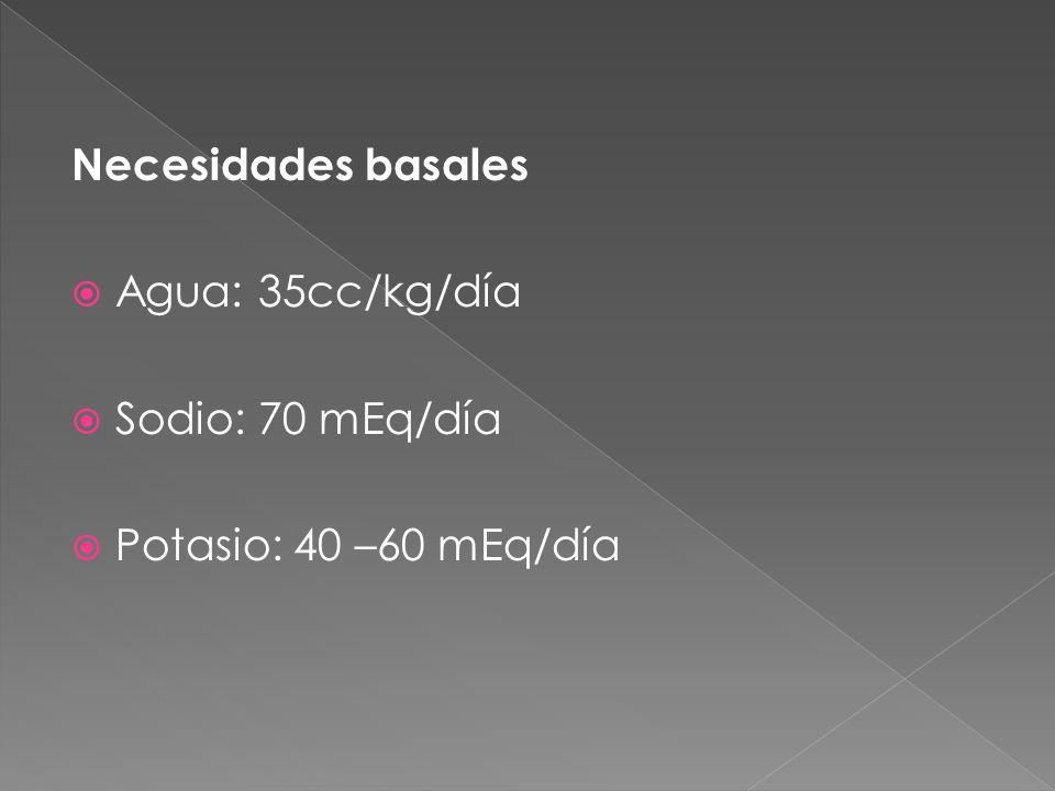 Necesidades basales  Agua: 35cc/kg/día  Sodio: 70 mEq/día  Potasio: 40 –60 mEq/día