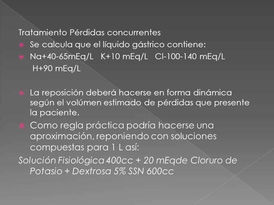 Tratamiento Pérdidas concurrentes  Se calcula que el líquido gástrico contiene:  Na+40-65mEq/L K+10 mEq/L Cl-100-140 mEq/L H+90 mEq/L  La reposición deberá hacerse en forma dinámica según el volúmen estimado de pérdidas que presente la paciente.