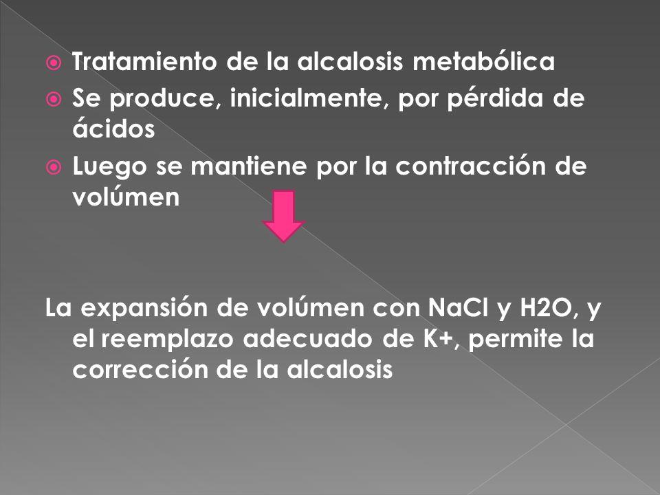  Tratamiento de la alcalosis metabólica  Se produce, inicialmente, por pérdida de ácidos  Luego se mantiene por la contracción de volúmen La expansión de volúmen con NaCl y H2O, y el reemplazo adecuado de K+, permite la corrección de la alcalosis
