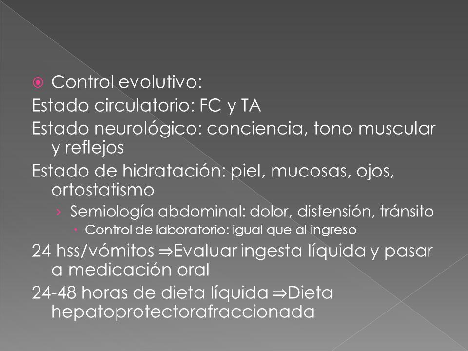  Control evolutivo: Estado circulatorio: FC y TA Estado neurológico: conciencia, tono muscular y reflejos Estado de hidratación: piel, mucosas, ojos, ortostatismo › Semiología abdominal: dolor, distensión, tránsito  Control de laboratorio: igual que al ingreso 24 hss/vómitos ⇒ Evaluar ingesta líquida y pasar a medicación oral 24-48 horas de dieta líquida ⇒ Dieta hepatoprotectorafraccionada