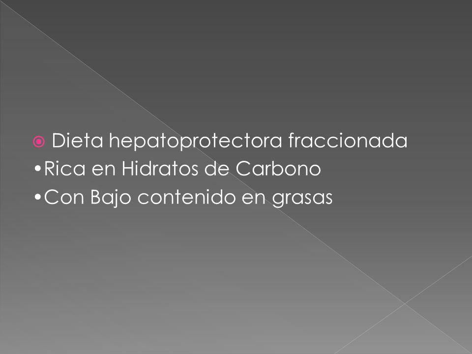  Dieta hepatoprotectora fraccionada Rica en Hidratos de Carbono Con Bajo contenido en grasas