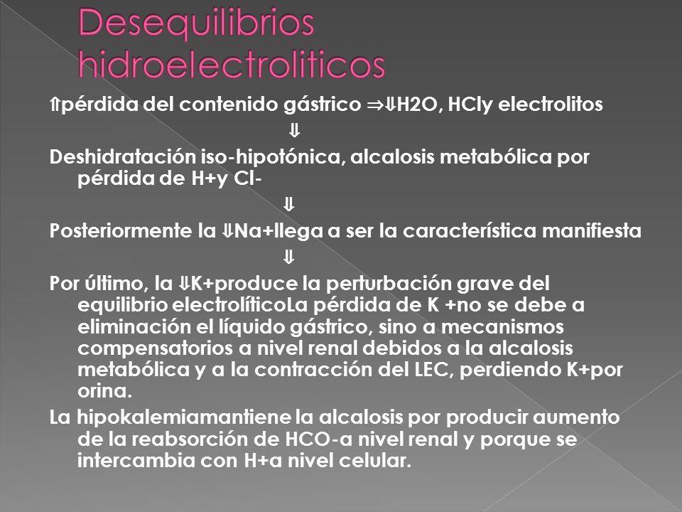 ⇑ pérdida del contenido gástrico ⇒⇓ H2O, HCly electrolitos ⇓ Deshidratación iso-hipotónica, alcalosis metabólica por pérdida de H+y Cl- ⇓ Posteriormente la ⇓ Na+llega a ser la característica manifiesta ⇓ Por último, la ⇓ K+produce la perturbación grave del equilibrio electrolíticoLa pérdida de K +no se debe a eliminación el líquido gástrico, sino a mecanismos compensatorios a nivel renal debidos a la alcalosis metabólica y a la contracción del LEC, perdiendo K+por orina.