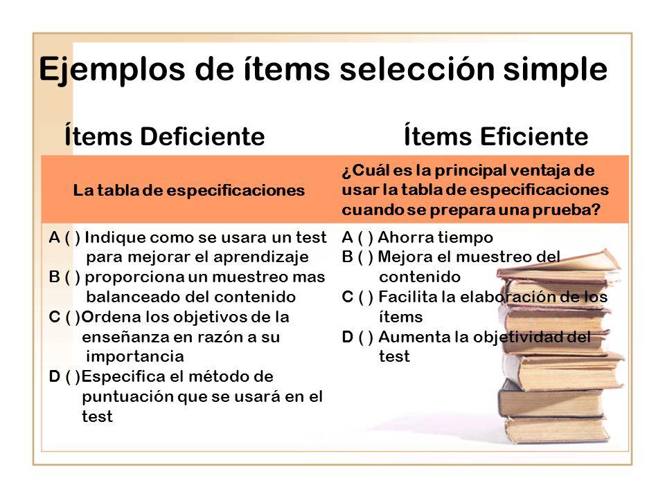 Ejemplos de ítems selección simple Ítems Deficiente Ítems Eficiente La tabla de especificaciones ¿Cuál es la principal ventaja de usar la tabla de especificaciones cuando se prepara una prueba.
