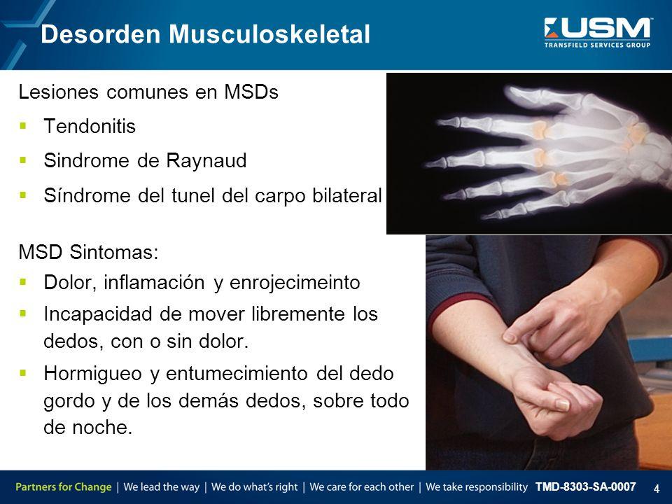 TMD-8303-SA-0007 4 Desorden Musculoskeletal Lesiones comunes en MSDs  Tendonitis  Sindrome de Raynaud  Síndrome del tunel del carpo bilateral MSD S