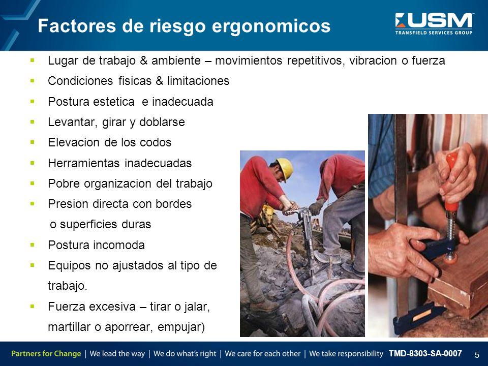TMD-8303-SA-0007 5  Lugar de trabajo & ambiente – movimientos repetitivos, vibracion o fuerza  Condiciones fisicas & limitaciones  Postura estetica