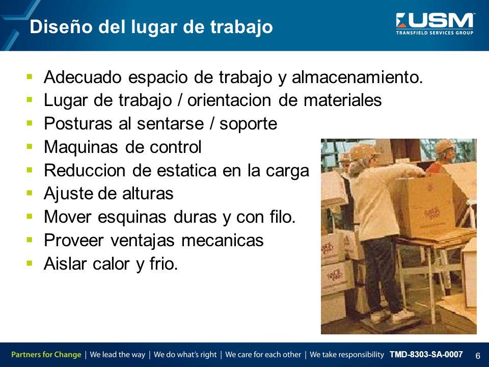 TMD-8303-SA-0007 6  Adecuado espacio de trabajo y almacenamiento.  Lugar de trabajo / orientacion de materiales  Posturas al sentarse / soporte  M